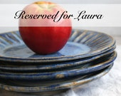 RESERVED for Laura - Rustic Dinnerware Set of 4 Side Plates in Starry Night Glaze Handcrafted Carved Dishes Made in USA