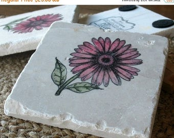 XMASINJULYSale Gerbera Daisy Tile Coasters - Set of 4