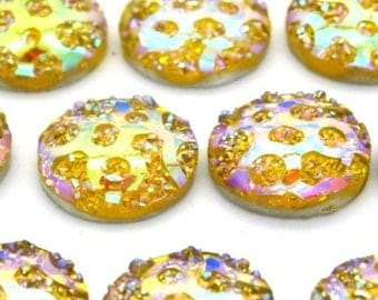 cabochons 10 x acrylic yellow AB MAT2285 ronds10mm