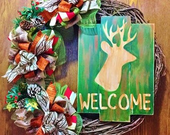SALE - Welcome Deer Hunting Antlers - Welcome Door Grapevine Wreath