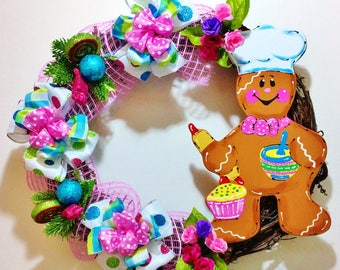 FREE SHIPPING Ginger Bread Baker Man - Welcome Door Grapevine Wreath