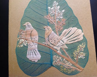 Two leaves or two of my handmade leaf art look exactly alike! Have U seen ancient rice straw art? Birds on a leaf Unique collectible art