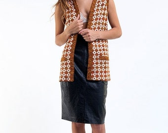 40% OFF The Vintage Orange Geo Print Knit Vest
