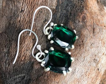 Repurposed Emerald Glass Drop Earrings