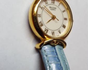 Blue Metallic Band Lovely Bulova Quartz in Wroking Condition Genuine Leather Band for medium Wrist New Battery Add it