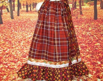 SALE Girls 5/6 Fall Thanksgiving Dress Shaded Brown Plaid Dress, Pumpkins, Leaf, Floral Pillowcase Dress, Pillow Case Dress, Sundress