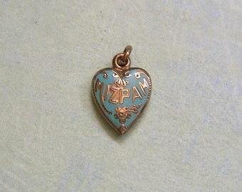 Antique Victorian Gold Filled Enamel Puffy Heart Charm Pendant, Vintage Gold Filled and Enamel Heart Charm, Old Heart Charm (#3290)