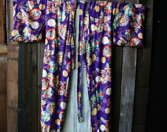 1950s Hand Printed Japanese Kimono Bohemian Fashion Robe Bright Boho Colors Purple Reds Blues Vintage From Nowvintage on Etsy