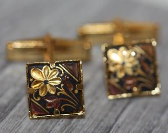 Mens vintage cuff links - goldtone Spanish Damascene