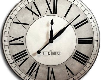 LARGE CLOCK 30in OXFORD Linen-Gallery Antique Style-Modern Rustic Decor-Free Inscription