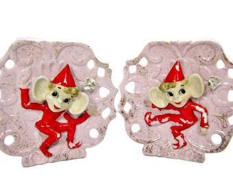 PIXIE ELF Wall POCKETS / Planters / Enesco Imports - Japan / 1950s Kitsch / Pair / Vintage
