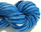 Bulky Handspun Yarn Almost Solid Bright Blue 50 yards blue yarn hand dyed merino yarn waldorf doll hair knitting supplies crochet supplies