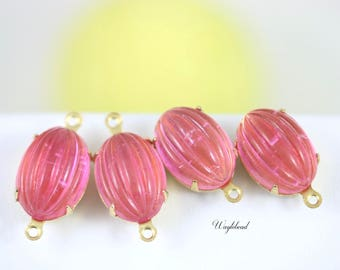 Vintage Unfoiled  Melon Glass Oval Set Stones 14x10mm Charms Drops Connectors Brass Settings Pink - 2