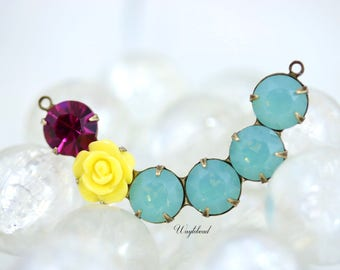 Crescent Swarovski Crystal Rhinestones Connector Link Pendant 41x8mm Yellow Flower Fuchsia & Pacific Green Opal - 1