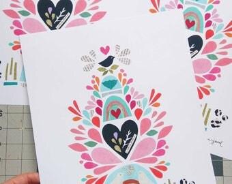 "Whimsical Bird Print,  Fine Art Print,  11x14"" Print of Original Paper Collage, Megan Jewel Designs,  Modern Wall Art"
