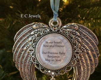 """Summer Sale Memorial Baby / Miscarriage Ornament """"In our hearts Now and Forever, Our Precious Baby"""""""