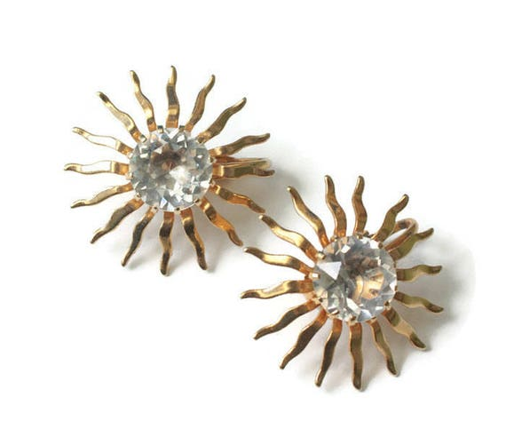 Sarah Coventry Dainty Fascination Earrings Crystal Center Gold Tone