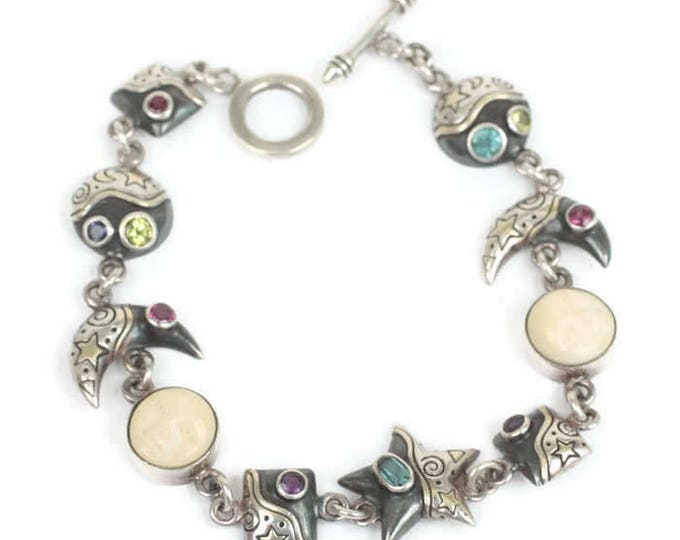 Celestial Theme Gemstone Sterling Bracelet Moon Face Links Stars Vintage