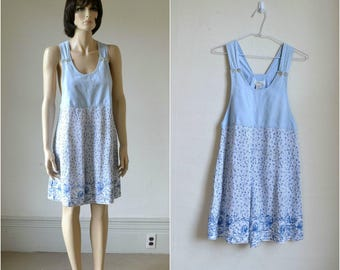 90s Grunge Romper Chambray and Rayon Overalls Mini Dress Skort Blue and White
