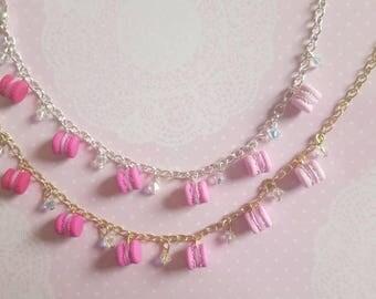 Pink Ombre Tiny Macaron Charm Bracelet with Swarovski crystals
