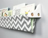 Book Sling - Grey and White Chevron Wall Organizer - Choose your size
