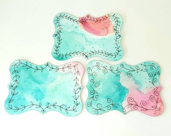 Set of 3 Original Hand painted Cards   Hand drawn painted Gift Tags    Not A Print   Mixed Media Watercolor & Ink   Blue Pink Black 1