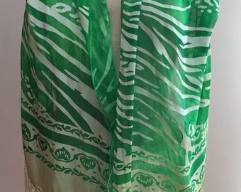 Devore Cut Satin Scarf (silk and rayon) - Green Large