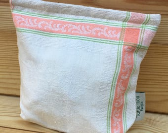 Vintage Linen Sandwich/Snack Bags with Food Safe Liner (1Bag) Bright Peach/Green
