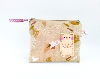 Cat Fish Coin Purse, Coin Pouch, Zipper Pouch, Brown, Cute, Cat Pouch, Cat Lover Gift, Zipper Wallet, Children's Purse - Sweet Kitty