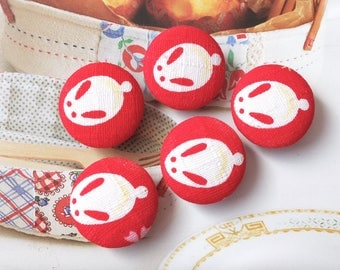 Japanese Traditional Holiday Kawaii Cute Bunny Bunnies On Kimono Red-Handmade Fabric Covered Buttons(0.98 Inches, 5PCS)