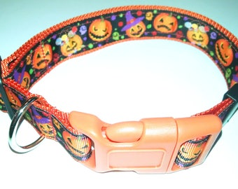 "Halloween Jack O Lantern Dog Collar-Large size 16"" to 25"" adjustable"