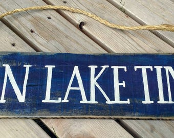 On lake time hand painted sign art on pallet wood northwoods vacation