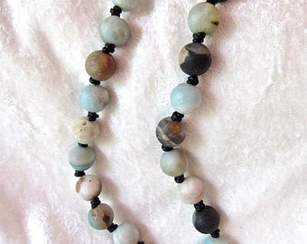 Beautiful Organic Natural Amazonite Beaded Necklace hand Knotted  Matte Finish Necklace