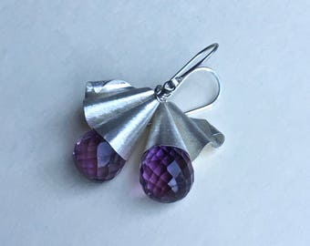 Unfurled - Pink Amethyst and Fine Silver Drops