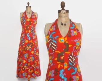 Vintage 70s Halter DRESS / 1970s Pop Art Floral Print Maxi Sun Dress S - M