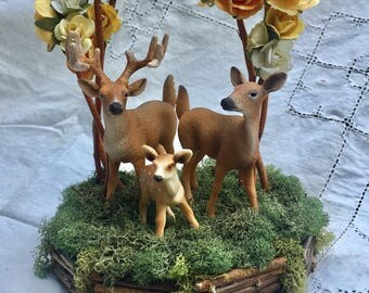 """Ready to ship: 5"""" Deer Wedding Cake Topper, yellow and peach flowers"""