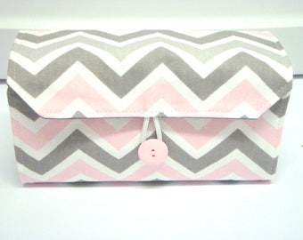 Cash Envelope Wallet  / Dave Ramsey System / Zipper Envelopes - Bella Chevron Zig Zag