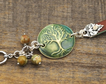 Bracelet tree of life, ceramic leather copper, green and brown colors, rhyolite beads, 7 3/4 inches long