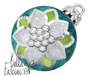 Poinsettia Christmas Tree Ornament Bead Charm - Enamel - 925 Silver - Fits Pandora and Compatible Bracelets - BELLA FASCINI® Green - F-193