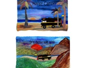 Special order - RV mountain camping by lake on one side and beach on the other throw blanket from my original art.