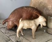 Goat and pig, early primitive toy, hand carved wood.
