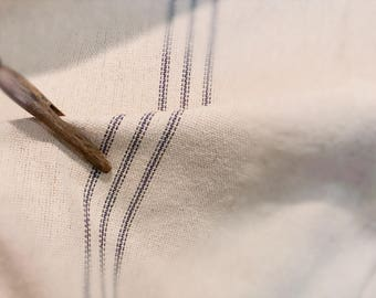Reproduction Grain Sack Fabric Sold By The Yard. Blue Stripe on Cream.