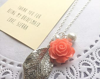 Leaf rose necklace, Bridesmaid necklace, bridal wedding gift. Comes with FREE personalized notecard and jewelry box.