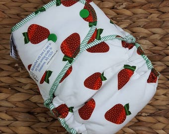 Strawberry Fields - One Size (11-35#) Cotton Fleece HYBRID Fitted Cloth Diaper