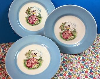 Washington Pottery Ltd - Crinoline Lady - Vintage Plates - Tea Plates - Side Plates - Hanley - Blue And White