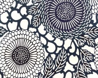 Katazome Washi Japanese Paper Sheet 18x24 inches - navy black daisies on white