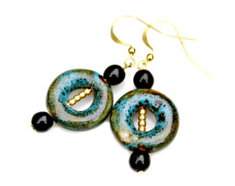 Raku Pottery Earrings Aqua Honey Brown Gold Round Dangles Boho Natural Woodland Chic Everyday Easy To Wear by Mei Faith