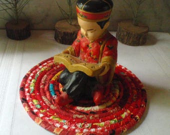 Red Bohemian Coiled Mat, Trivet or Hot Pad, Lamp Mat - Small Round - Handmade by Me