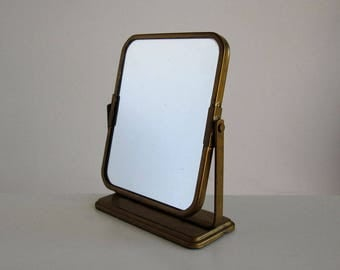 Wall-mounted or free-standing mirror from the 1950s-1960s / vintage vanity or shaving mirror