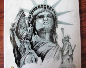 "October 1986 Statue of Liberty Limited Edition Centennial Commemorative Tile, Courtesy of Color Tile, Made in Italy, 8""x6"", NIB, Sepia-Toned"